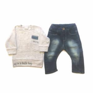 Комплект за момче блуза с дънки
