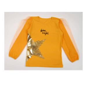 Блуза за момиче с тюлени ръкави