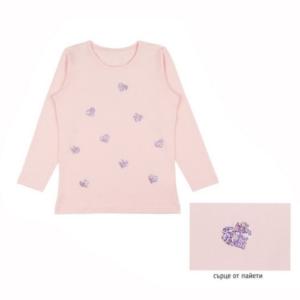 Детска блуза за момиче със сърчица
